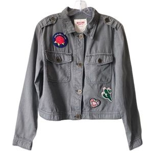 Mossimo Utility Jacket Patches Gray Cotton Size L